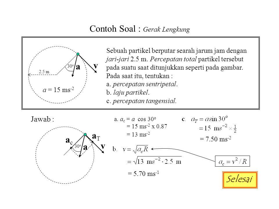 Contoh Soal : Gerak Lengkung Sebuah partikel berputar searah jarum jam dengan jari-jari 2.5 m. Percepatan total partikel tersebut pada suatu saat ditu