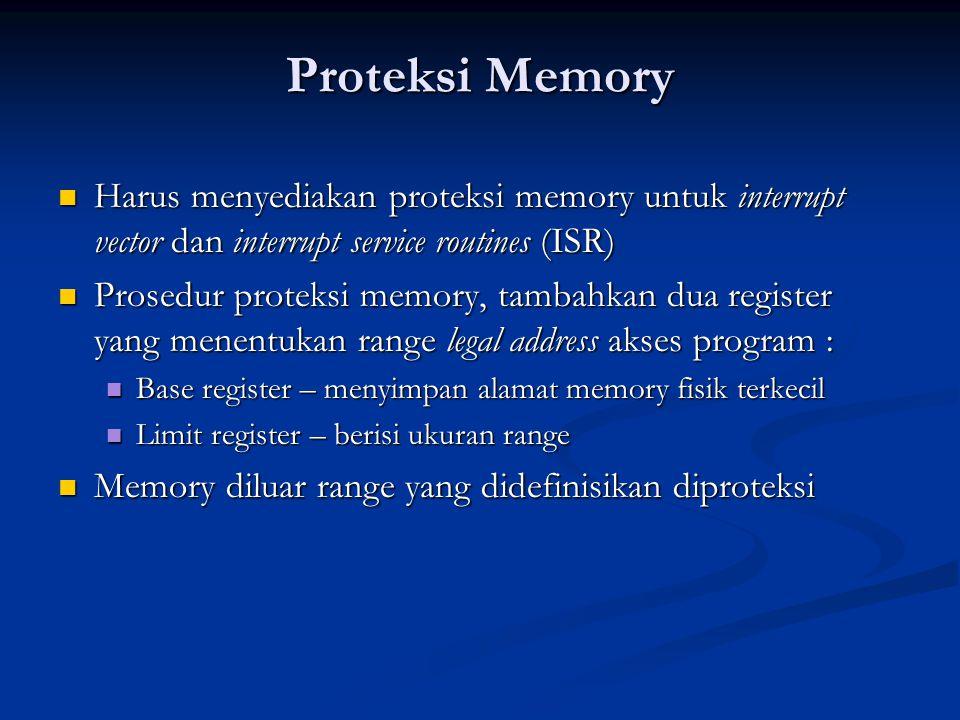 Proteksi Memory Harus menyediakan proteksi memory untuk interrupt vector dan interrupt service routines (ISR) Harus menyediakan proteksi memory untuk