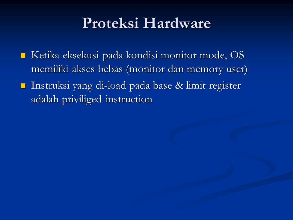 Proteksi Hardware Ketika eksekusi pada kondisi monitor mode, OS memiliki akses bebas (monitor dan memory user) Ketika eksekusi pada kondisi monitor mo
