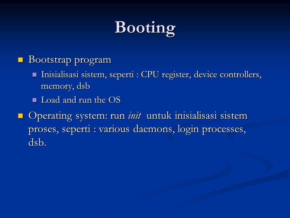 Booting Bootstrap program Bootstrap program Inisialisasi sistem, seperti : CPU register, device controllers, memory, dsb Inisialisasi sistem, seperti