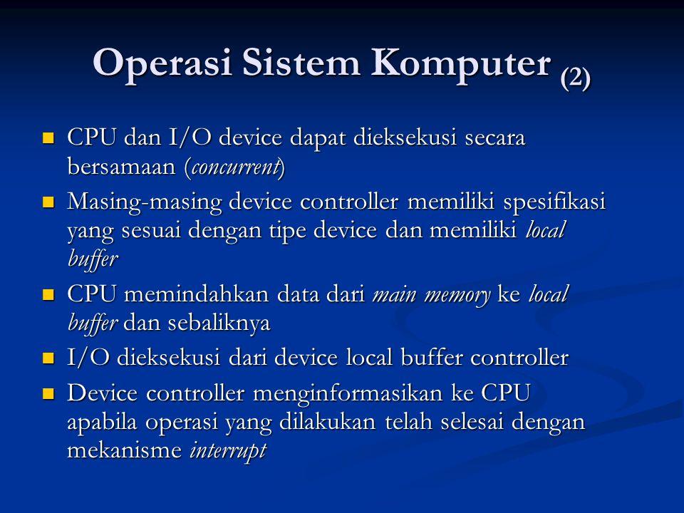 Operasi Sistem Komputer (2) CPU dan I/O device dapat dieksekusi secara bersamaan (concurrent) CPU dan I/O device dapat dieksekusi secara bersamaan (co
