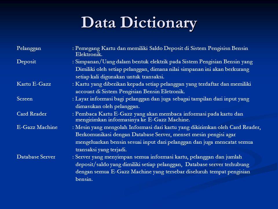 Data Dictionary Pelanggan: Pemegang Kartu dan memiliki Saldo Deposit di Sistem Pengisisn Bensin Elektronik. Deposit: Simpanan/Uang dalam bentuk elektr