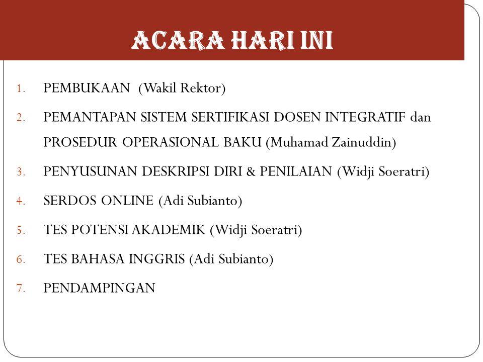 ACARA HARI INI 1. PEMBUKAAN (Wakil Rektor) 2. PEMANTAPAN SISTEM SERTIFIKASI DOSEN INTEGRATIF dan PROSEDUR OPERASIONAL BAKU (Muhamad Zainuddin) 3. PENY