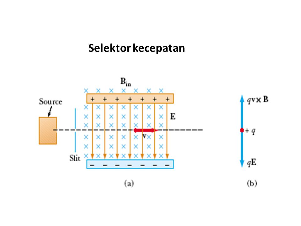 Siklotron Siklotron: alat untuk mempercepat partikel (proton,detron dll) Terdiri dari dua ruang semisilinder yang ditempatkan dalam medan magnet Di antara kedua semisilinder diberi potensial listrik bolak-balik (10 4 volt) Ion dalam semisilinder akan mengalami gaya magnet yang menyebabkan bergerak dalam setengah lingkaran lalu dipercepat oleh medan lisrik E, masuk lagi ke dalam medan magnet B dan bergerak milingkar dengan jari-jari lebih besar (karena kecepan lebih besar).
