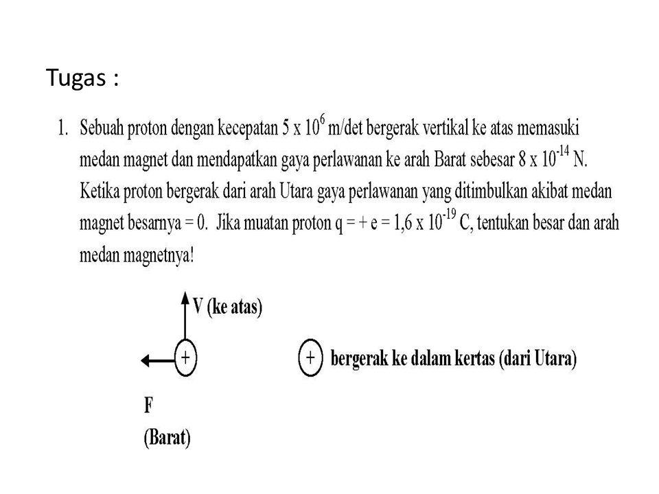 Contoh soal Sebuah proton bergerak dalam lintasan lingkaran dengan jari-jari 14 cm dalam sebuah medan magnetik 0.35 T yang tegak lurus dengan kecepatan proton.
