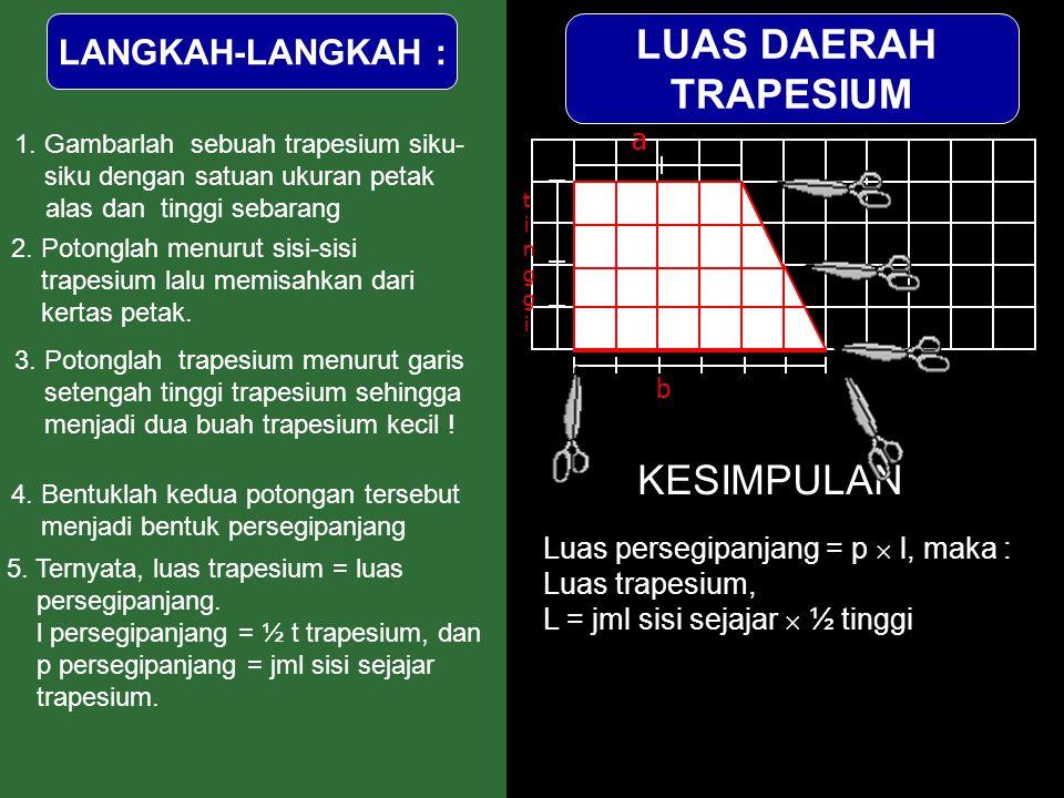 2. Potonglah menurut sisi-sisi trapesium lalu memisahkan dari kertas petak. 3. Potonglah trapesium menurut garis setengah tinggi trapesium sehingga me