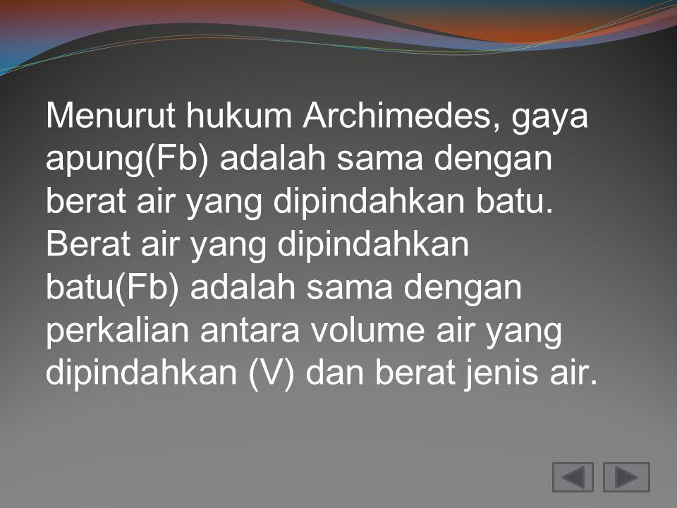Menurut hukum Archimedes, gaya apung(Fb) adalah sama dengan berat air yang dipindahkan batu. Berat air yang dipindahkan batu(Fb) adalah sama dengan pe