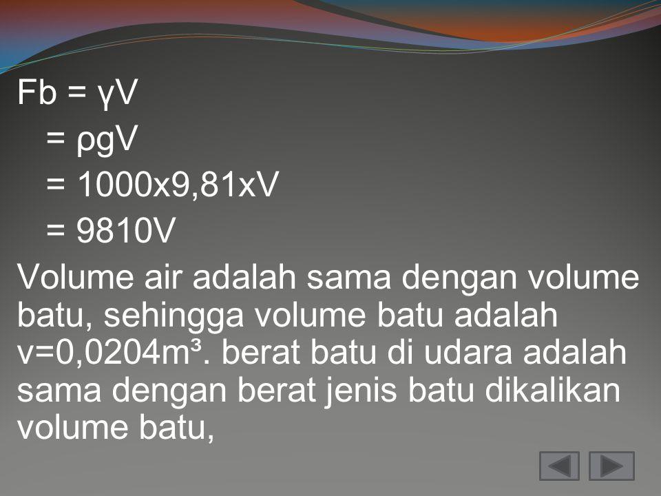 Fb = γV = ρgV = 1000x9,81xV = 9810V Volume air adalah sama dengan volume batu, sehingga volume batu adalah v=0,0204m³.