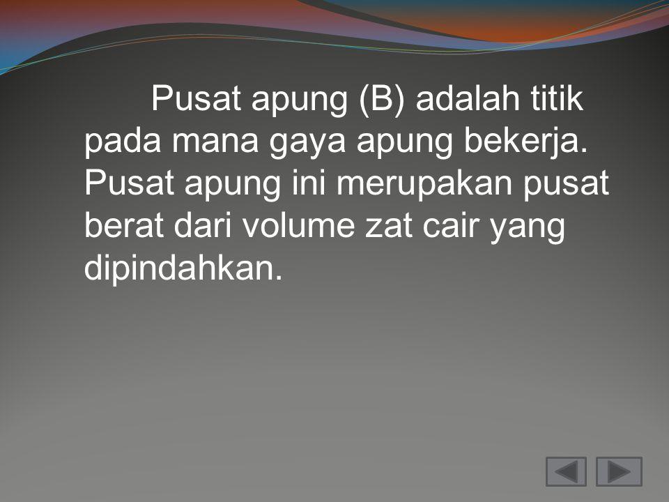 Pusat apung (B) adalah titik pada mana gaya apung bekerja. Pusat apung ini merupakan pusat berat dari volume zat cair yang dipindahkan.
