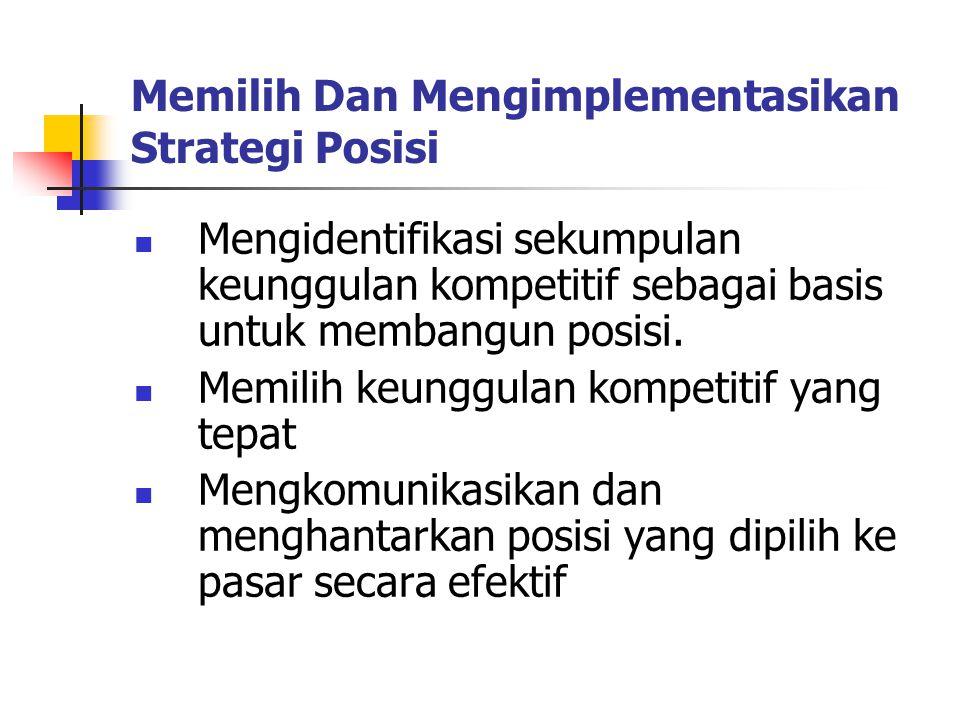 Memilih Dan Mengimplementasikan Strategi Posisi Mengidentifikasi sekumpulan keunggulan kompetitif sebagai basis untuk membangun posisi. Memilih keungg