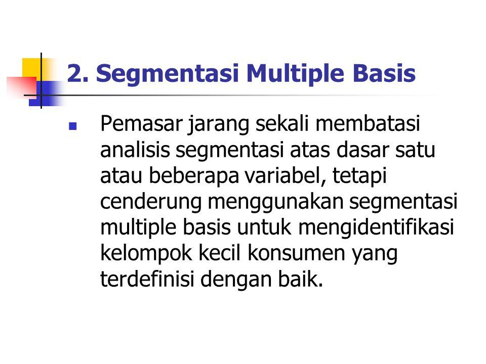 2. Segmentasi Multiple Basis Pemasar jarang sekali membatasi analisis segmentasi atas dasar satu atau beberapa variabel, tetapi cenderung menggunakan
