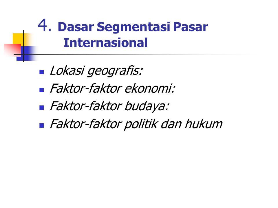 4. Dasar Segmentasi Pasar Internasional Lokasi geografis: Faktor-faktor ekonomi: Faktor-faktor budaya: Faktor-faktor politik dan hukum