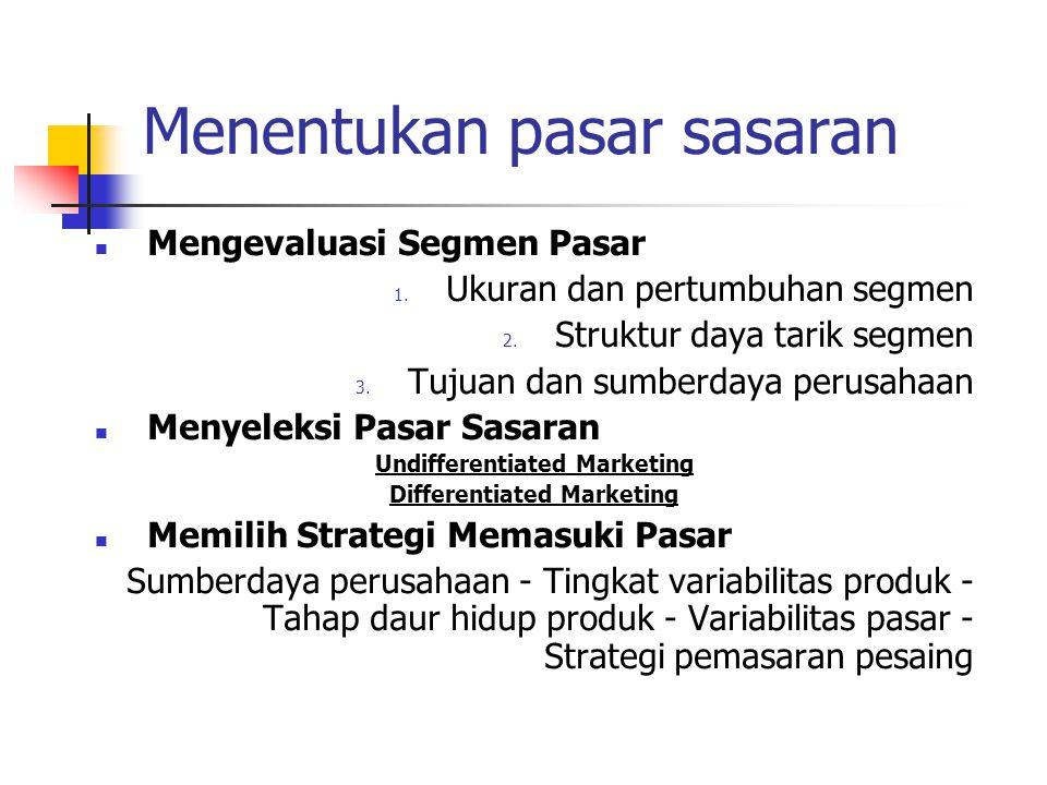 Menentukan pasar sasaran Mengevaluasi Segmen Pasar 1. Ukuran dan pertumbuhan segmen 2. Struktur daya tarik segmen 3. Tujuan dan sumberdaya perusahaan