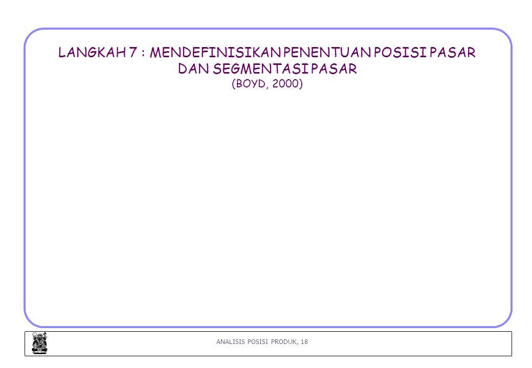 ANALISIS POSISI PRODUK, 18 LANGKAH 7 : MENDEFINISIKAN PENENTUAN POSISI PASAR DAN SEGMENTASI PASAR (BOYD, 2000)