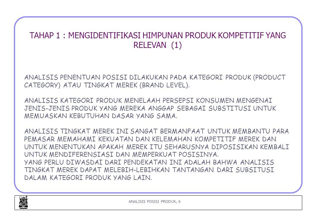 ANALISIS POSISI PRODUK, 6 TAHAP 1 : MENGIDENTIFIKASI HIMPUNAN PRODUK KOMPETITIF YANG RELEVAN (1) ANALISIS PENENTUAN POSISI DILAKUKAN PADA KATEGORI PRODUK (PRODUCT CATEGORY) ATAU TINGKAT MEREK (BRAND LEVEL).