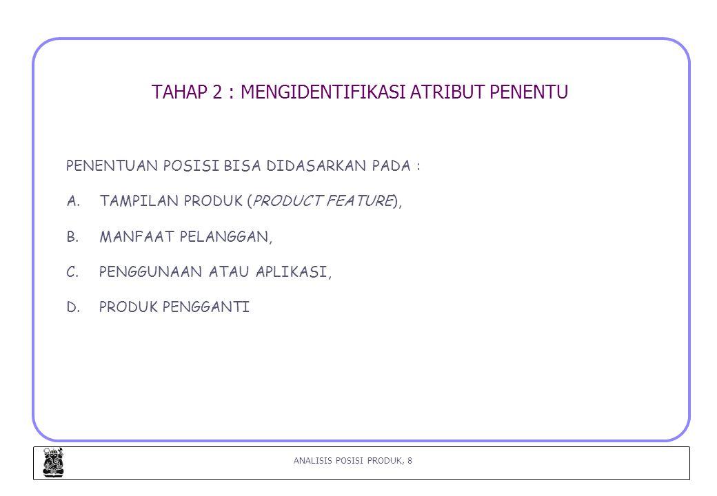 ANALISIS POSISI PRODUK, 8 TAHAP 2 : MENGIDENTIFIKASI ATRIBUT PENENTU PENENTUAN POSISI BISA DIDASARKAN PADA : A.TAMPILAN PRODUK (PRODUCT FEATURE), B.MANFAAT PELANGGAN, C.PENGGUNAAN ATAU APLIKASI, D.PRODUK PENGGANTI
