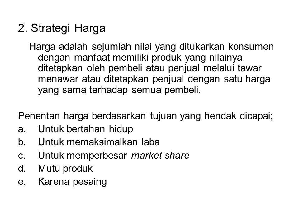 2. Strategi Harga Harga adalah sejumlah nilai yang ditukarkan konsumen dengan manfaat memiliki produk yang nilainya ditetapkan oleh pembeli atau penju