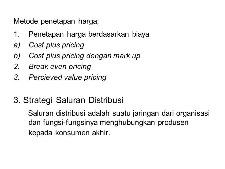 Metode penetapan harga; 1.Penetapan harga berdasarkan biaya a)Cost plus pricing b)Cost plus pricing dengan mark up 2.Break even pricing 3.Percieved va