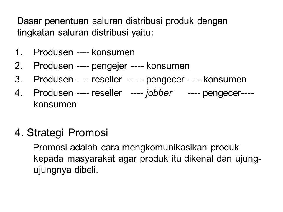 Dasar penentuan saluran distribusi produk dengan tingkatan saluran distribusi yaitu: 1.Produsen ---- konsumen 2.Produsen ---- pengejer ---- konsumen 3