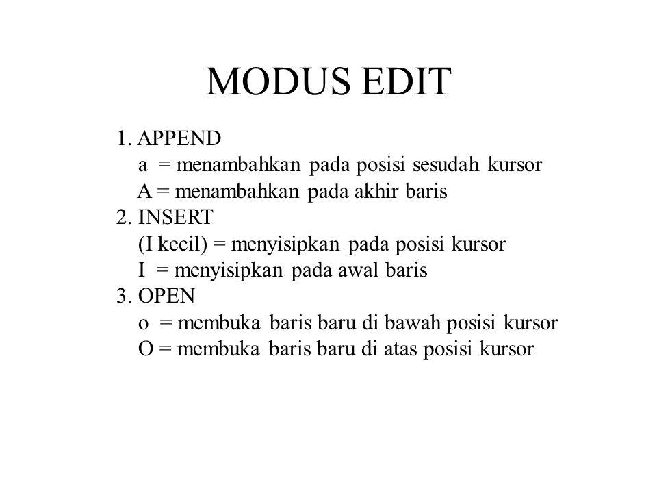 MODUS EDIT 1.APPEND a = menambahkan pada posisi sesudah kursor A = menambahkan pada akhir baris 2.