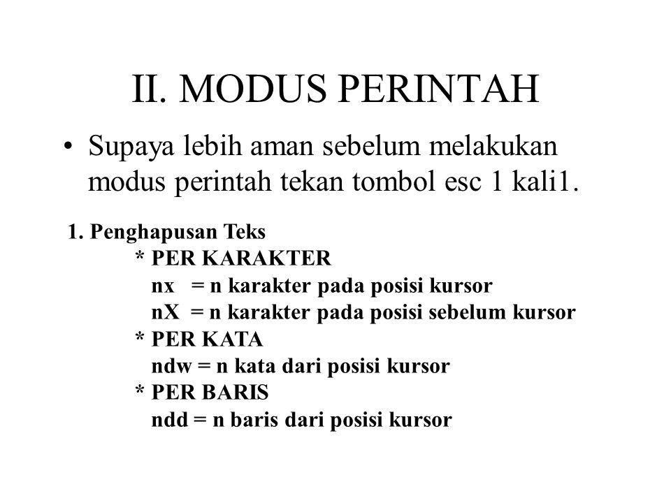 II.MODUS PERINTAH Supaya lebih aman sebelum melakukan modus perintah tekan tombol esc 1 kali1.