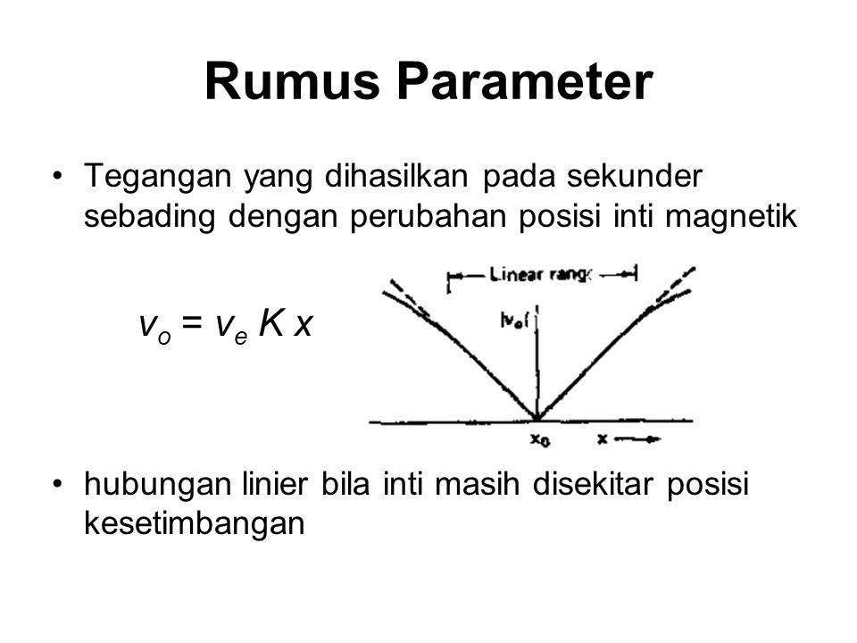 Tegangan yang dihasilkan pada sekunder sebading dengan perubahan posisi inti magnetik v o = v e K x hubungan linier bila inti masih disekitar posisi k