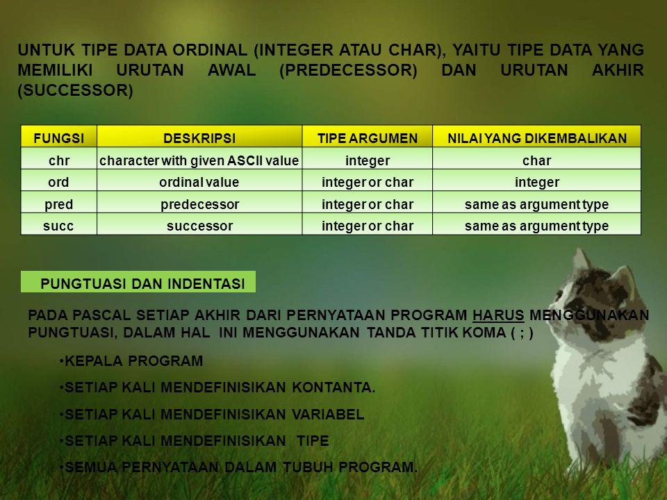 UNTUK TIPE DATA ORDINAL (INTEGER ATAU CHAR), YAITU TIPE DATA YANG MEMILIKI URUTAN AWAL (PREDECESSOR) DAN URUTAN AKHIR (SUCCESSOR) FUNGSIDESKRIPSITIPE