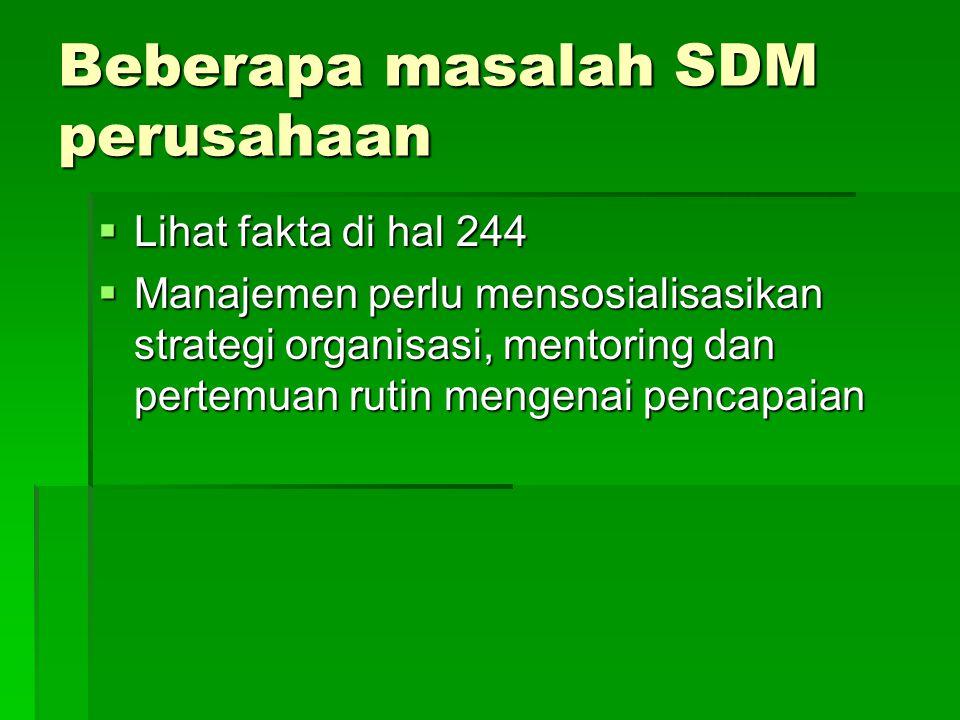 Beberapa masalah SDM perusahaan  Lihat fakta di hal 244  Manajemen perlu mensosialisasikan strategi organisasi, mentoring dan pertemuan rutin mengenai pencapaian
