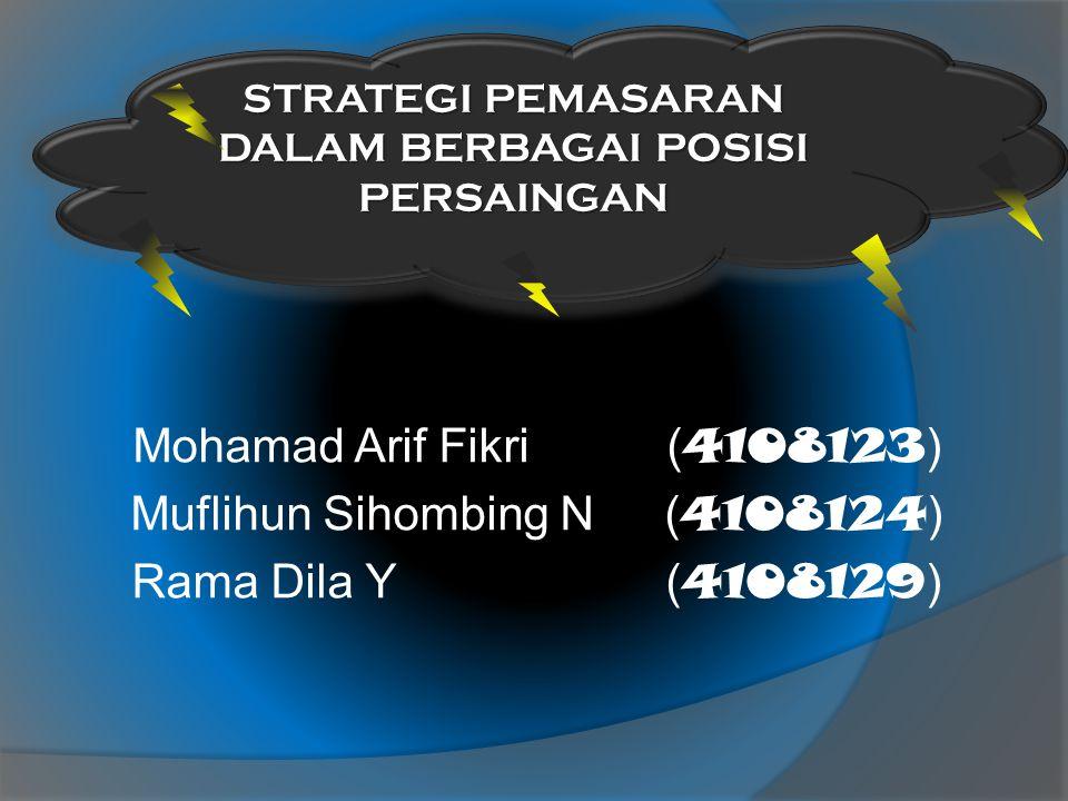Mohamad Arif Fikri( 4108123 ) Muflihun Sihombing N( 4108124 ) Rama Dila Y( 4108129 ) STRATEGI PEMASARAN DALAM BERBAGAI POSISI PERSAINGAN