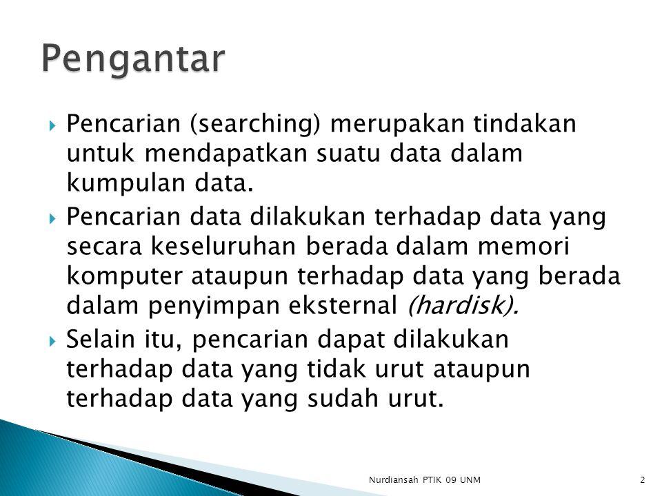  Pencarian (searching) merupakan tindakan untuk mendapatkan suatu data dalam kumpulan data.  Pencarian data dilakukan terhadap data yang secara kese