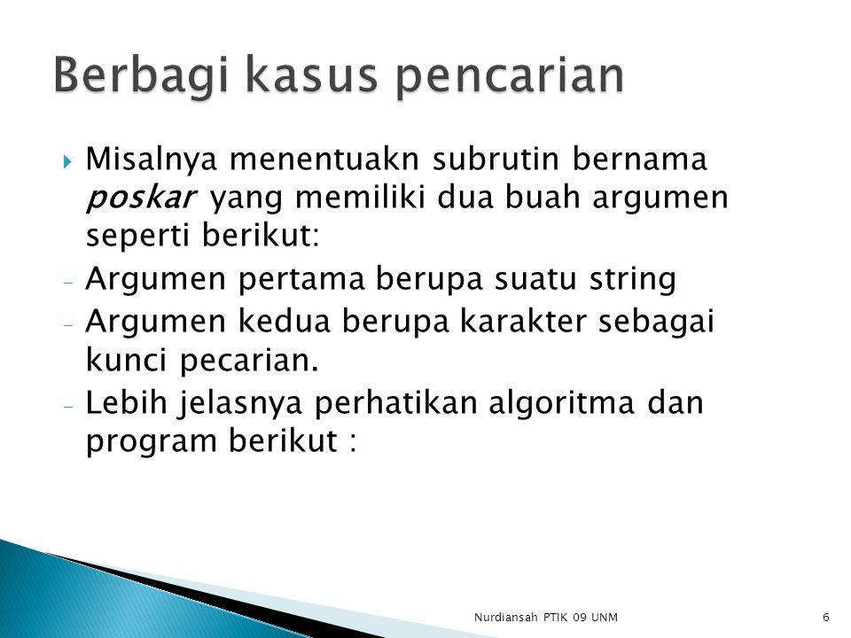  Misalnya menentuakn subrutin bernama poskar yang memiliki dua buah argumen seperti berikut: - Argumen pertama berupa suatu string - Argumen kedua be