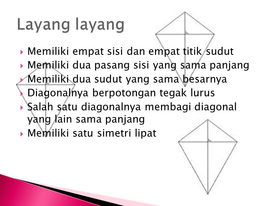  Memiliki empat sisi dan empat titik sudut  Memiliki dua pasang sisi yang sama panjang  Memiliki dua sudut yang sama besarnya  Diagonalnya berpotongan tegak lurus  Salah satu diagonalnya membagi diagonal yang lain sama panjang  Memiliki satu simetri lipat