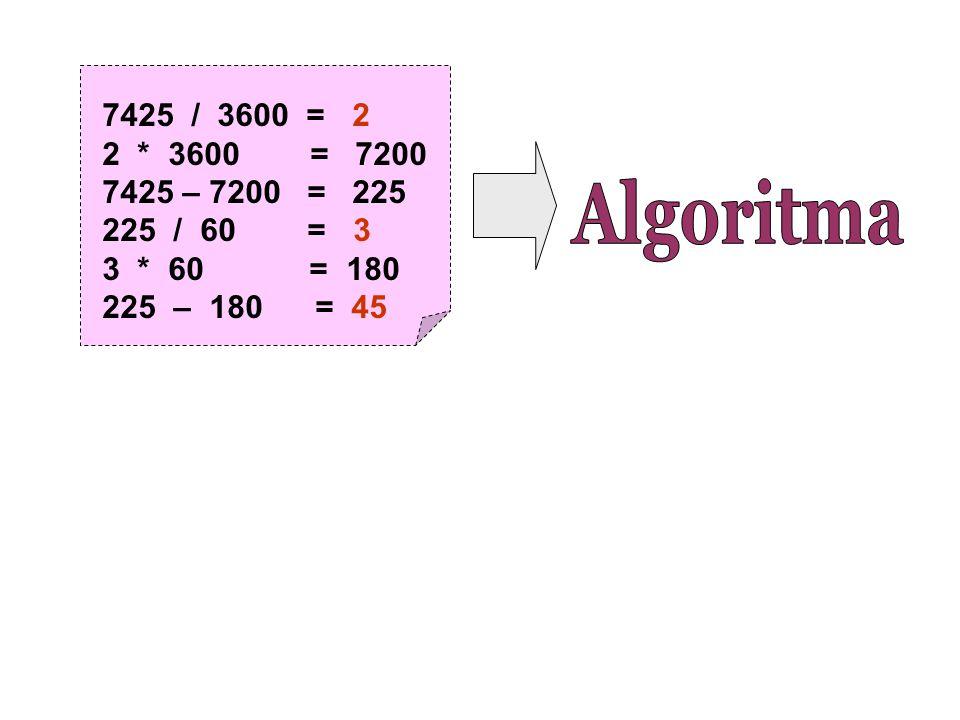7425 / 3600 = 2 2 * 3600 = 7200 7425 – 7200 = 225 225 / 60 = 3 3 * 60 = 180 225 – 180 = 45
