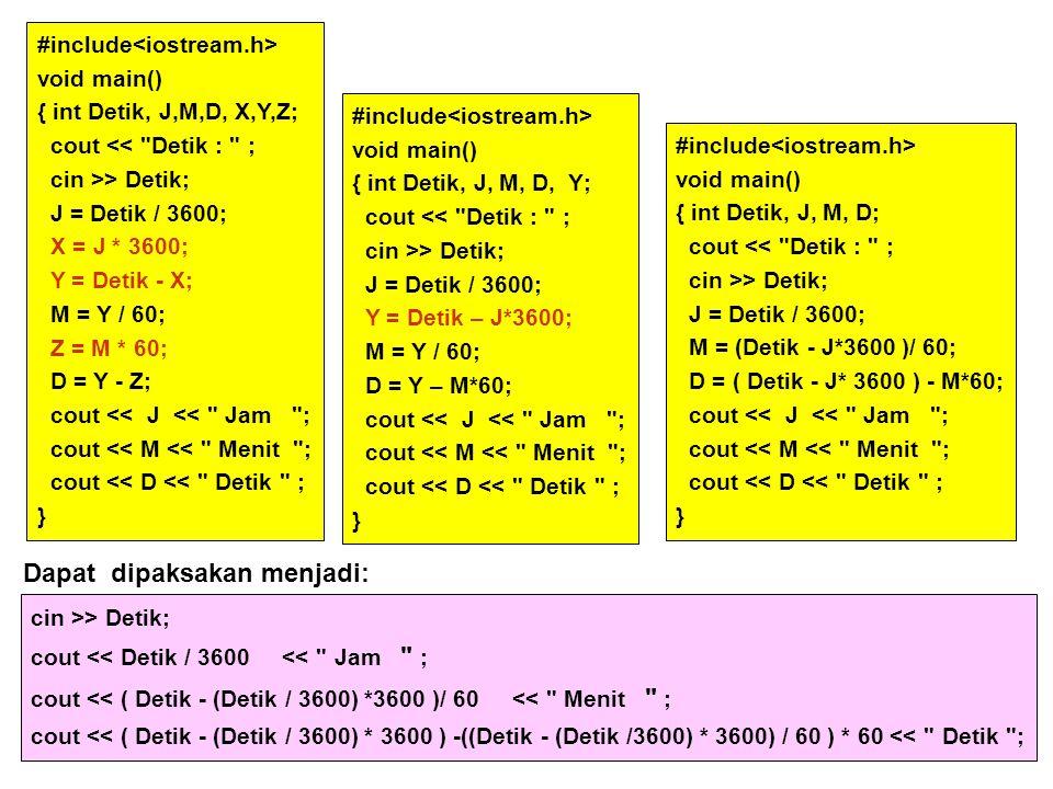 #include void main() { int Detik, J,M,D, X,Y,Z; cout <<