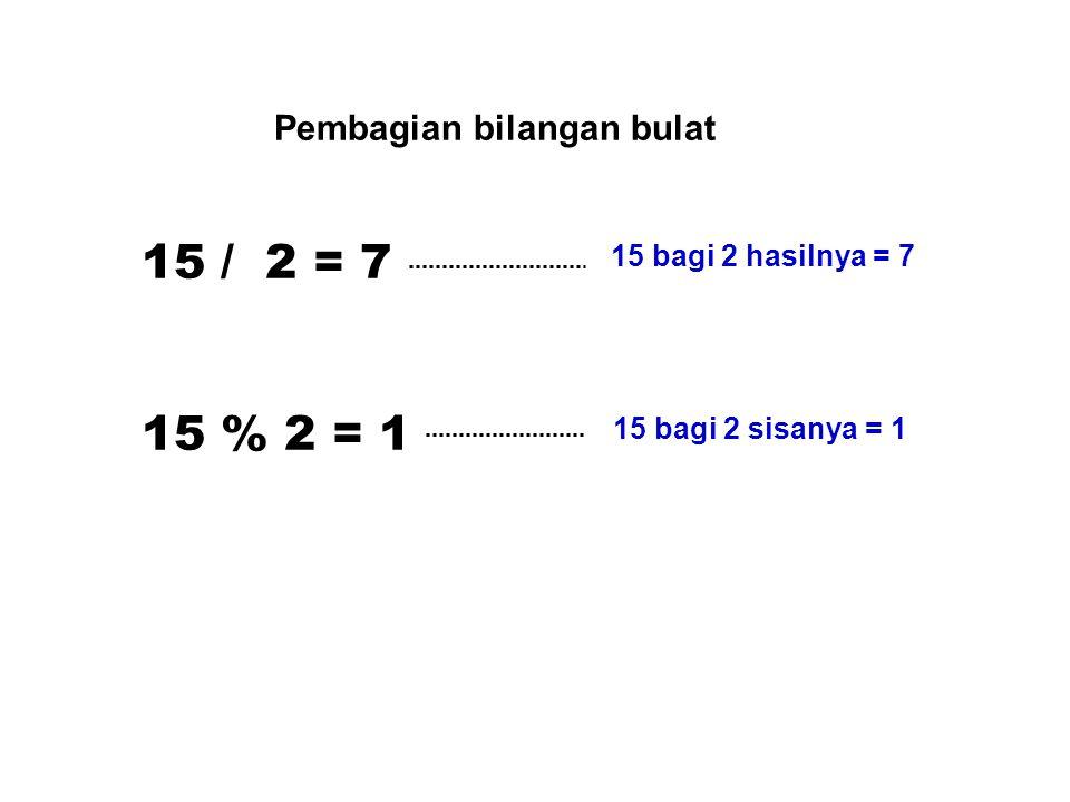 15 / 2 = 7 15 % 2 = 1 15 bagi 2 hasilnya = 7 15 bagi 2 sisanya = 1 Pembagian bilangan bulat
