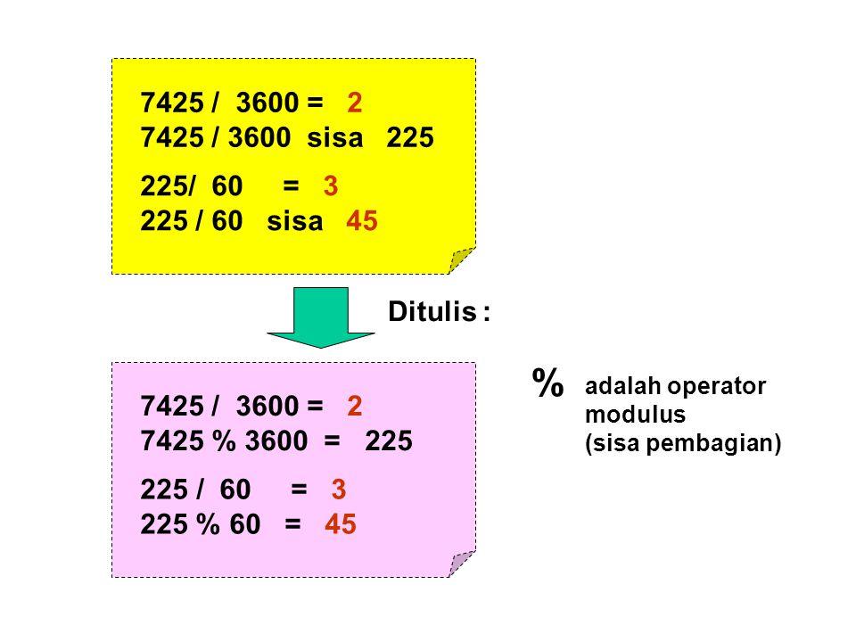 7425 / 3600 = 2 7425 / 3600 sisa 225 225/ 60 = 3 225 / 60 sisa 45 7425 / 3600 = 2 7425 % 3600 = 225 225 / 60 = 3 225 % 60 = 45 adalah operator modulus