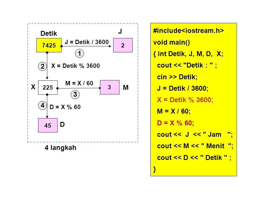 #include void main() { int Detik, J, M, D, X; cout <<