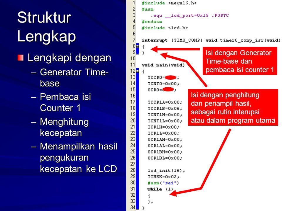 Struktur Lengkap Lengkapi dengan –Generator Time- base –Pembaca isi Counter 1 –Menghitung kecepatan –Menampilkan hasil pengukuran kecepatan ke LCD Isi