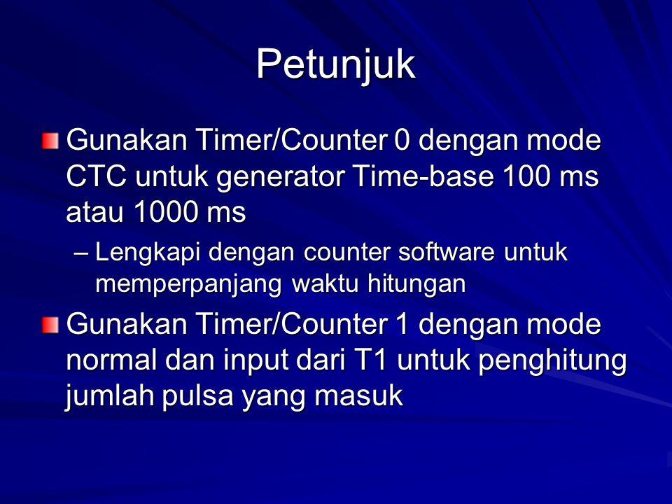 Petunjuk Gunakan Timer/Counter 0 dengan mode CTC untuk generator Time-base 100 ms atau 1000 ms –Lengkapi dengan counter software untuk memperpanjang w