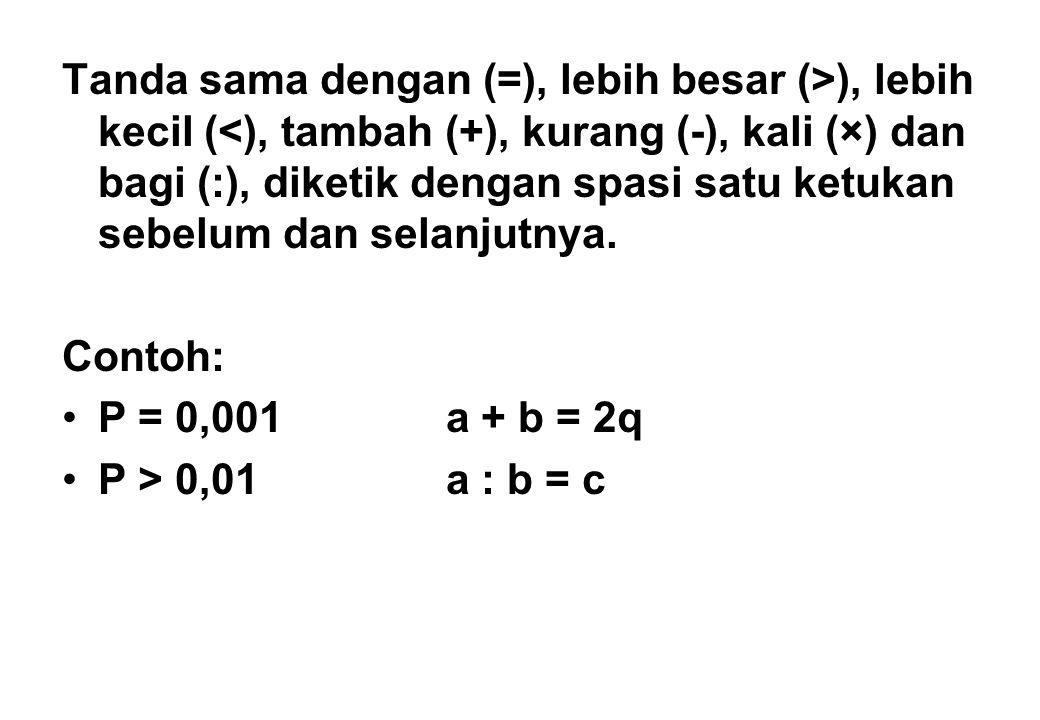 Tanda sama dengan (=), lebih besar (>), lebih kecil (<), tambah (+), kurang (-), kali (×) dan bagi (:), diketik dengan spasi satu ketukan sebelum dan selanjutnya.