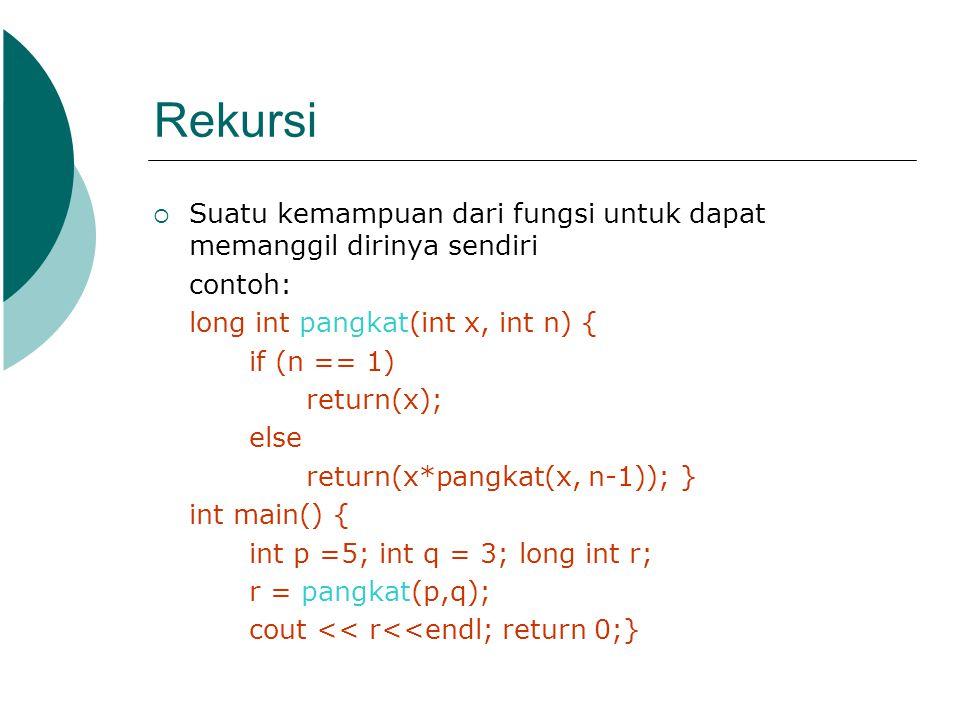Rekursi  Suatu kemampuan dari fungsi untuk dapat memanggil dirinya sendiri contoh: long int pangkat(int x, int n) { if (n == 1) return(x); else retur