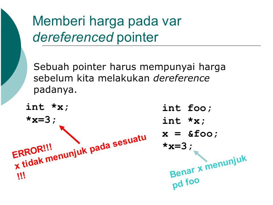 Memberi harga pada var dereferenced pointer Sebuah pointer harus mempunyai harga sebelum kita melakukan dereference padanya. int *x; *x=3; int foo; in