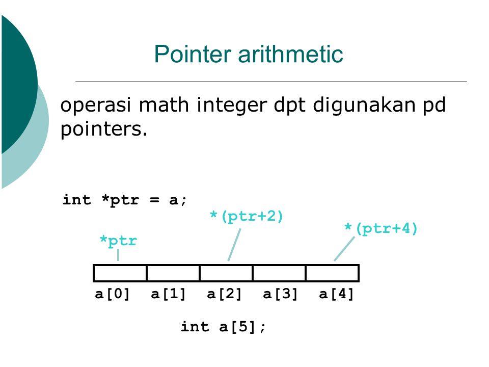 Pointer arithmetic operasi math integer dpt digunakan pd pointers. int a[5]; a[0] a[1] a[2] a[3] a[4] int *ptr = a; *ptr *(ptr+2) *(ptr+4)