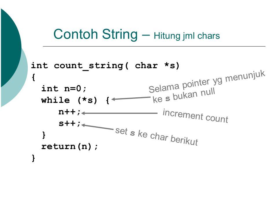 Contoh String – Hitung jml chars int count_string( char *s) { int n=0; while (*s) { n++; s++; } return(n); } Selama pointer yg menunjuk ke s bukan nul