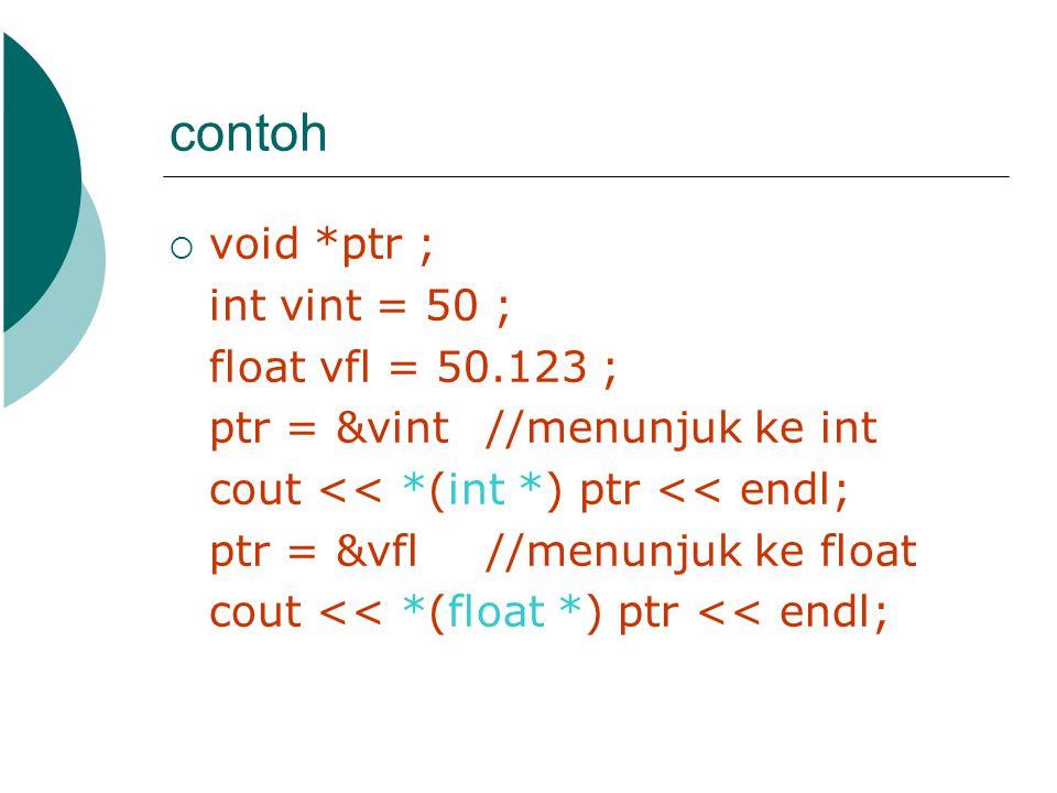 contoh  void *ptr ; int vint = 50 ; float vfl = 50.123 ; ptr = &vint//menunjuk ke int cout << *(int *) ptr << endl; ptr = &vfl //menunjuk ke float co