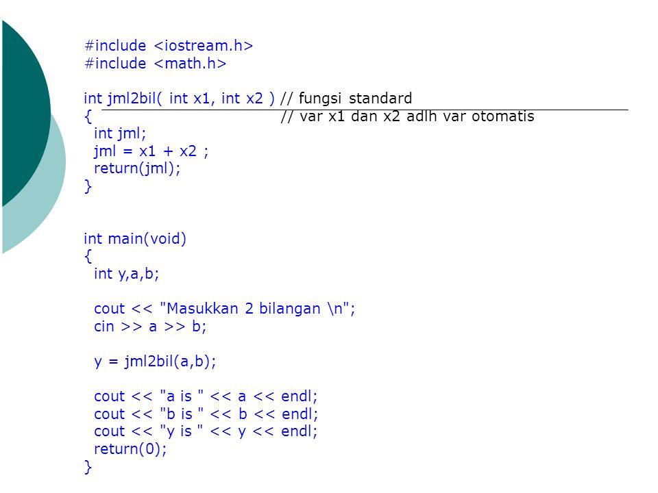 #include int jml2bil( int x1, int x2 ) // fungsi standard {// var x1 dan x2 adlh var otomatis int jml; jml = x1 + x2 ; return(jml); } int main(void) {