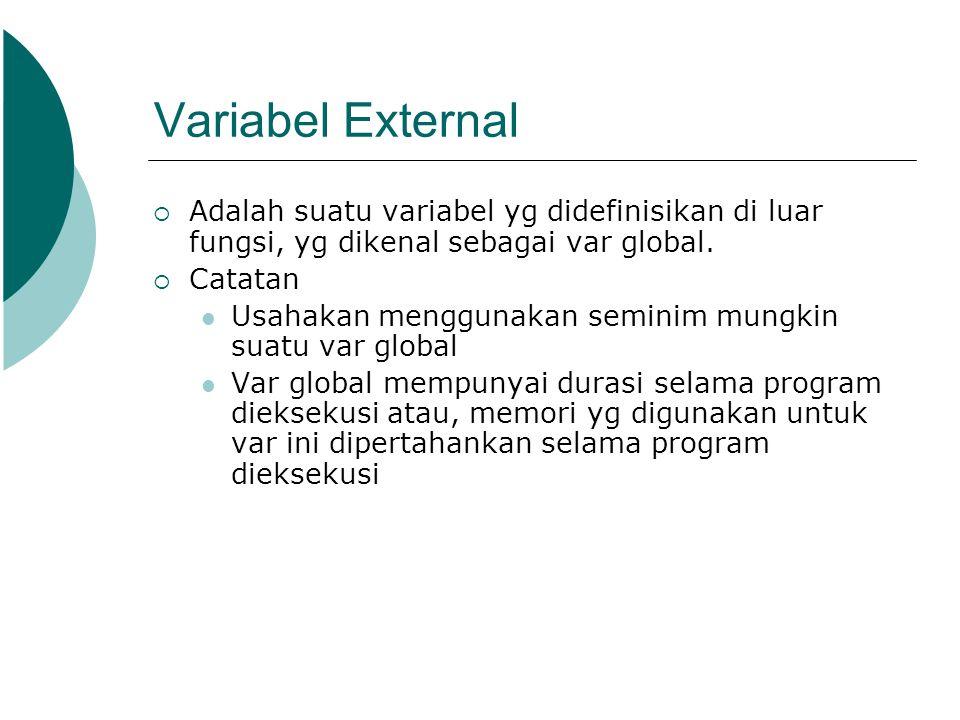 Variabel External  Adalah suatu variabel yg didefinisikan di luar fungsi, yg dikenal sebagai var global.  Catatan Usahakan menggunakan seminim mungk
