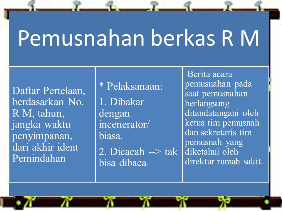 Pemusnahan berkas R M Daftar Pertelaan, berdasarkan No.