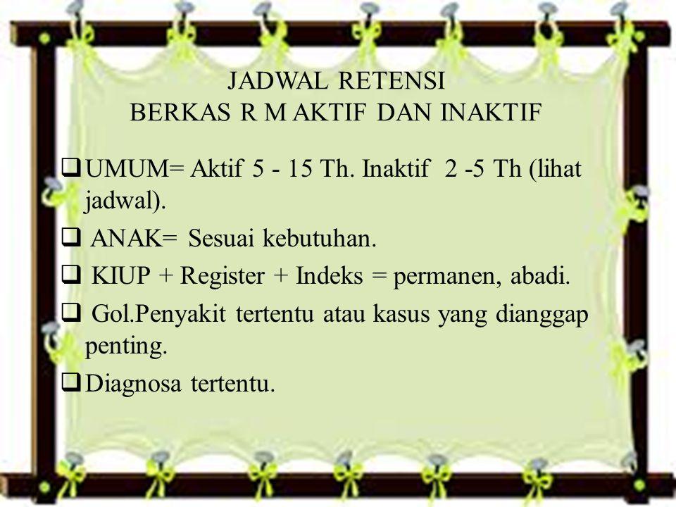 JADWAL RETENSI BERKAS R M AKTIF DAN INAKTIF  UMUM= Aktif 5 - 15 Th.