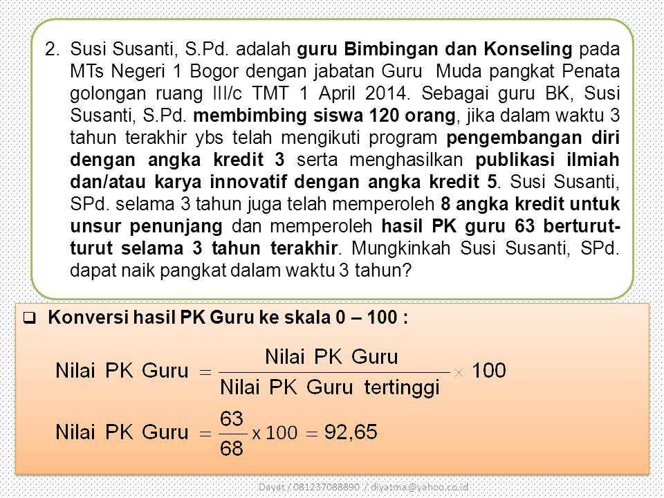 2.Susi Susanti, S.Pd. adalah guru Bimbingan dan Konseling pada MTs Negeri 1 Bogor dengan jabatan Guru Muda pangkat Penata golongan ruang III/c TMT 1 A